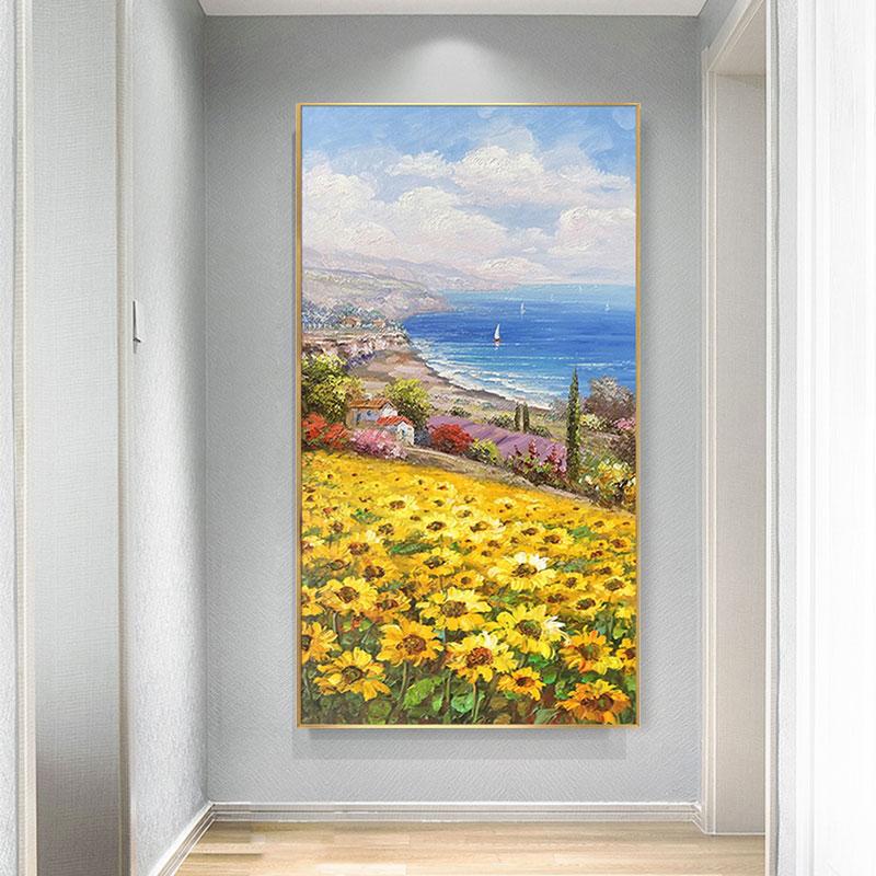 手繪有框風景立體單幅現代減壓DIY數字油畫手繪立體簡約北歐定制