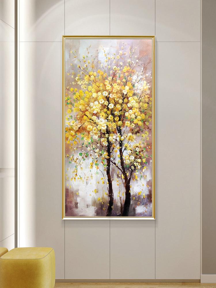 現代輕奢手繪玄關發財樹油畫簡約裝飾畫過道走廊掛畫豎版簡歐風格