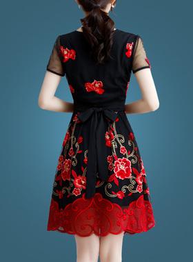 春季刺绣小个子连衣裙夏装2021年新款女短袖大码女装显瘦夏天裙子