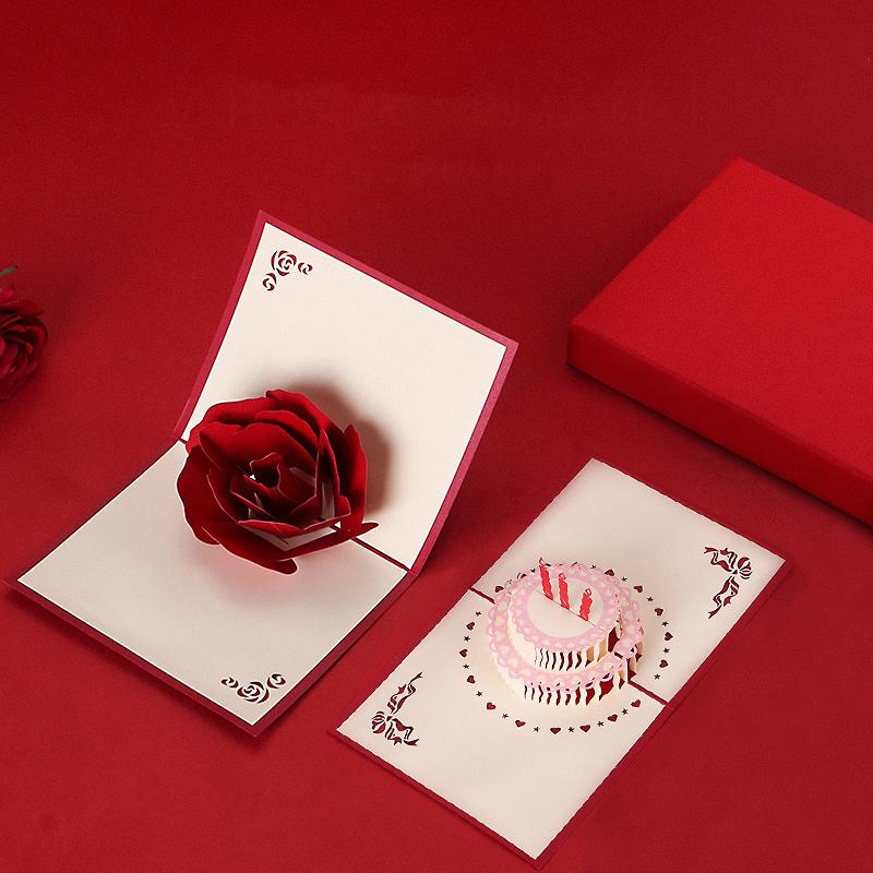 生日贺卡创意祝福3D蛋糕立体手工七夕送闺蜜女友求婚情人节小礼物