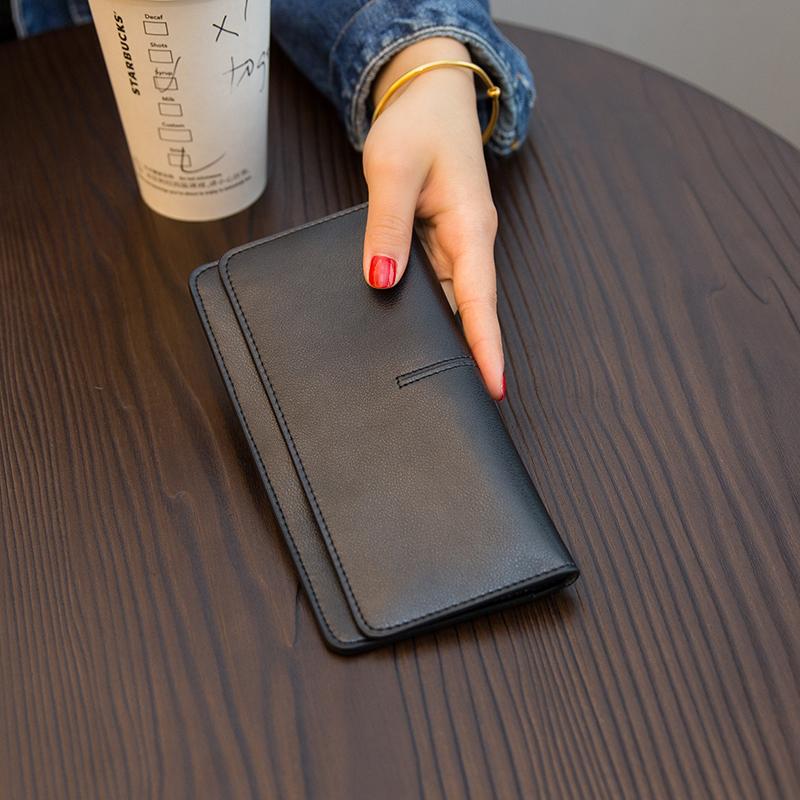 欧美大牌简约超薄长款钱包女真皮2019新款气质搭扣卡位软牛皮钱夹