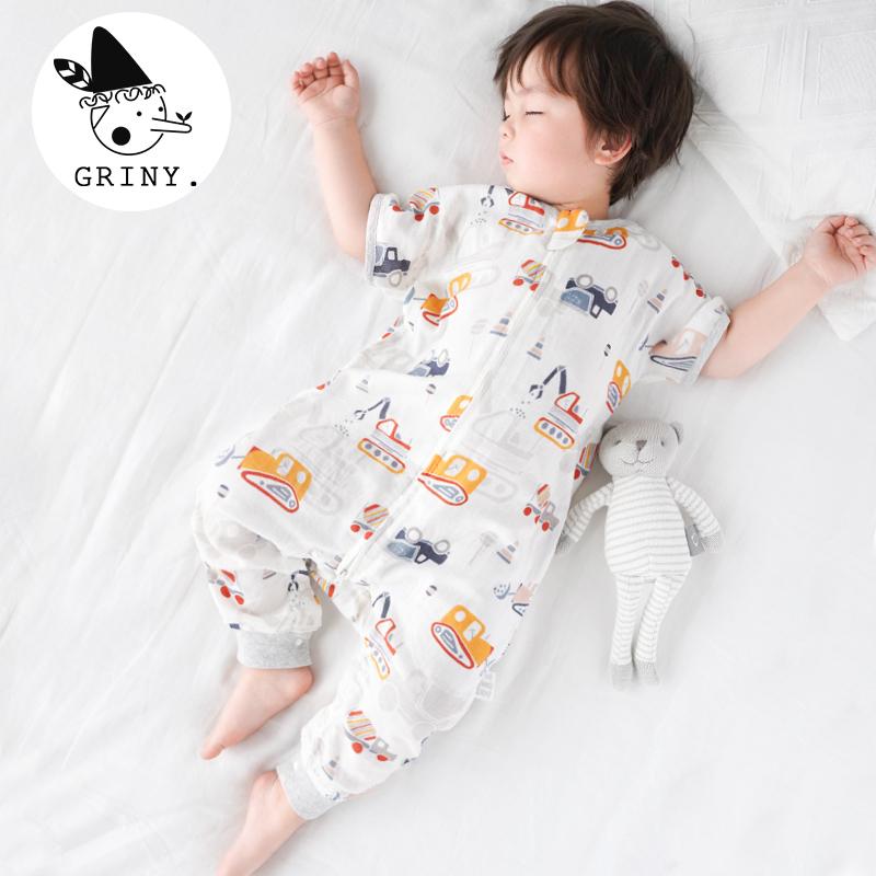 Griny婴儿纱布睡袋夏季薄款宝宝2层竹棉短袖分腿儿童空调房防踢被