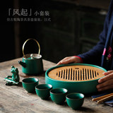 Still rock Japanese Tea Set a pot of four cups of household travel portable Kung Fu tea ceramic tea tray small set of simple