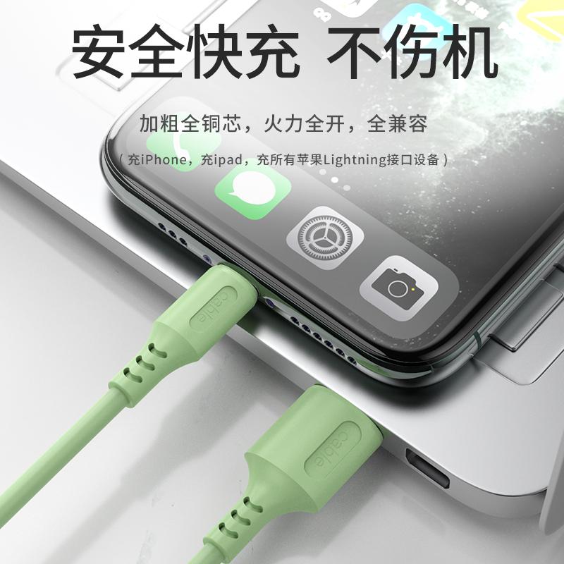 适用液态软胶苹果11pro数据线iPhone6手机7Plus充电线器6s加长5快充se闪充ipad冲电8X平板se xs - 图1