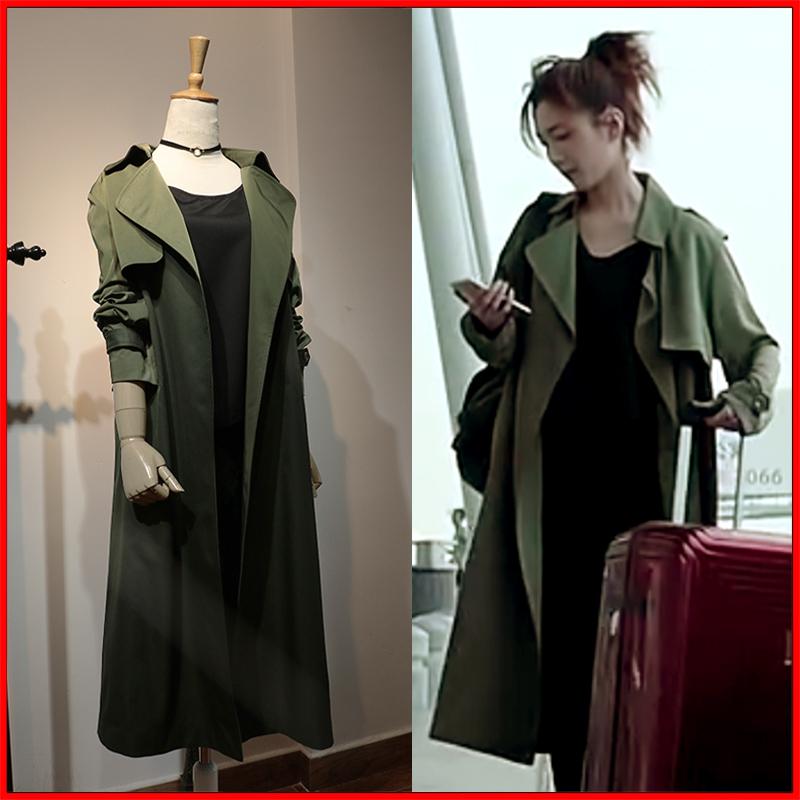 迪丽热巴周放江疏影明星同款军绿色风衣时尚气质百搭中长款外套女