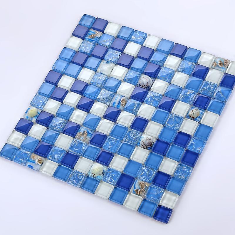 晶滢马赛克 145水晶玻璃贝壳 地中海田园拼图背景墙贴卫生间浴室