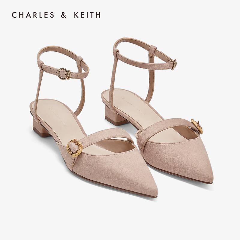 后绊带竹节扣饰女士低跟鞋 61680045 CK1 低帮鞋 KEITH & CHARLES