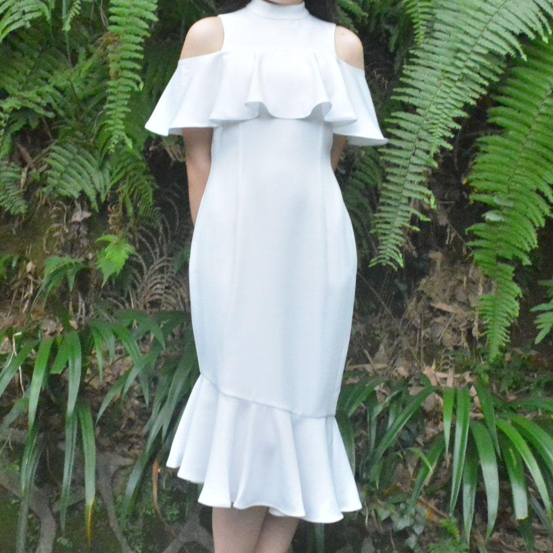 白色荷叶边法式茶歇连衣裙2020新款夏小礼服平时可穿迪丽热巴同款