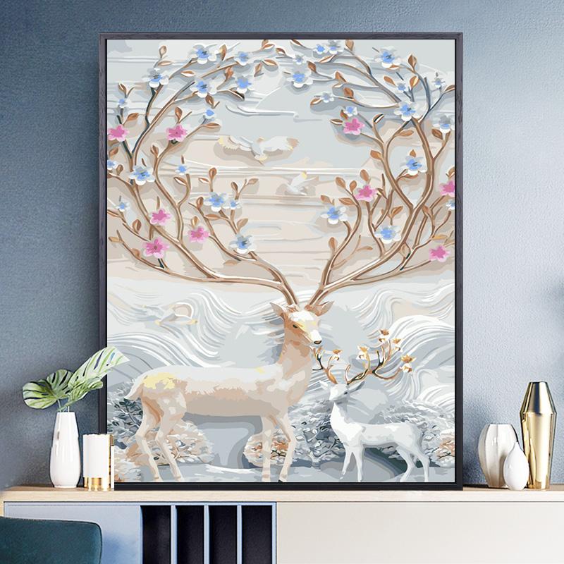 缘色diy手工数字油画自绘填色减压北欧油彩画花卉现代简约装饰画