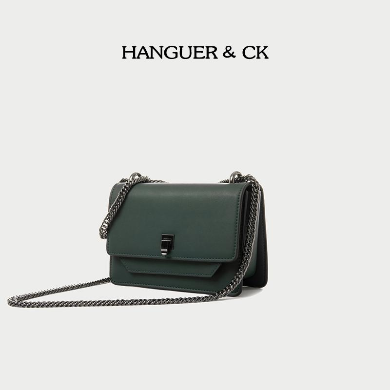 hanguer ck墨绿色腋下简约女链条包