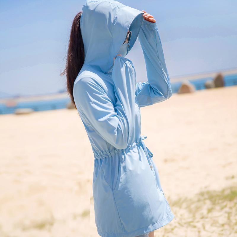 防晒衣女2021夏季新款中长款百搭薄款透气防晒服户外骑车外套衫潮高清大图