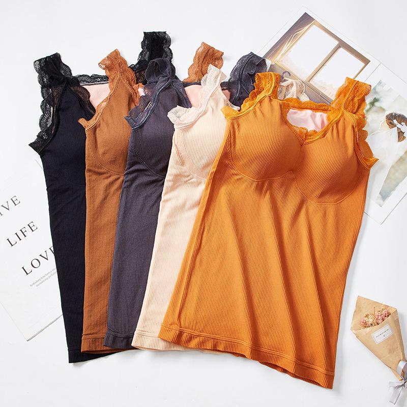 秋冬保暖加绒加厚性感保暖背心透气显瘦修身带胸垫舒适打底衫内搭