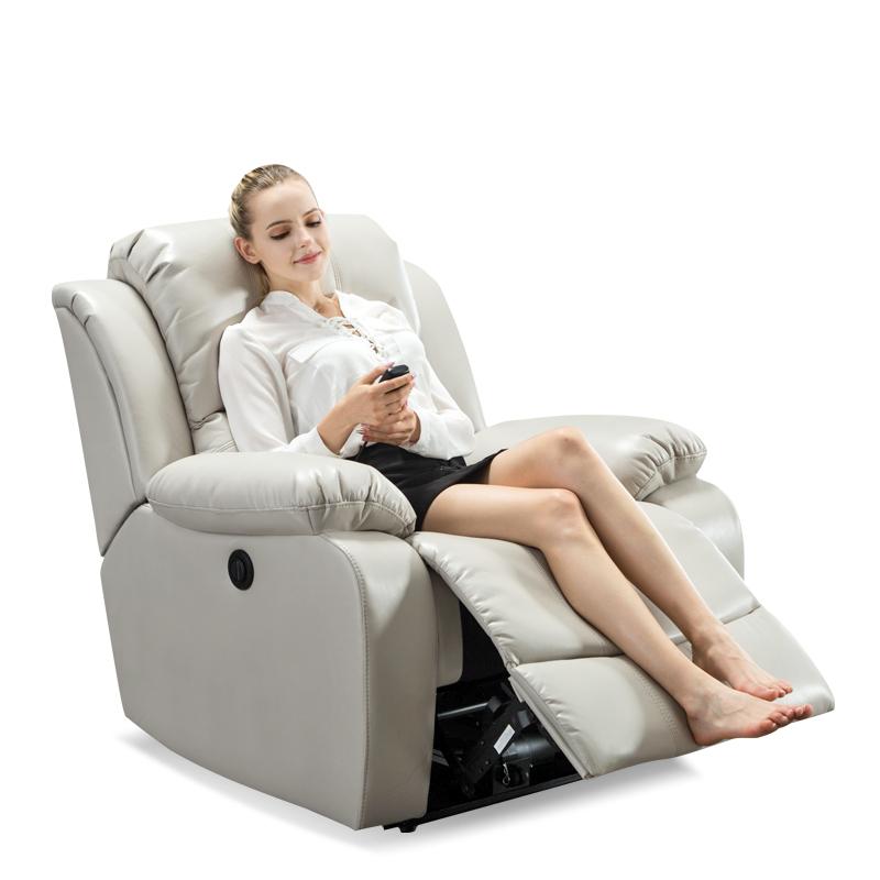 头等太空舱沙发布艺单人摇电动美甲美睫懒人多功能客厅椅欧式真皮