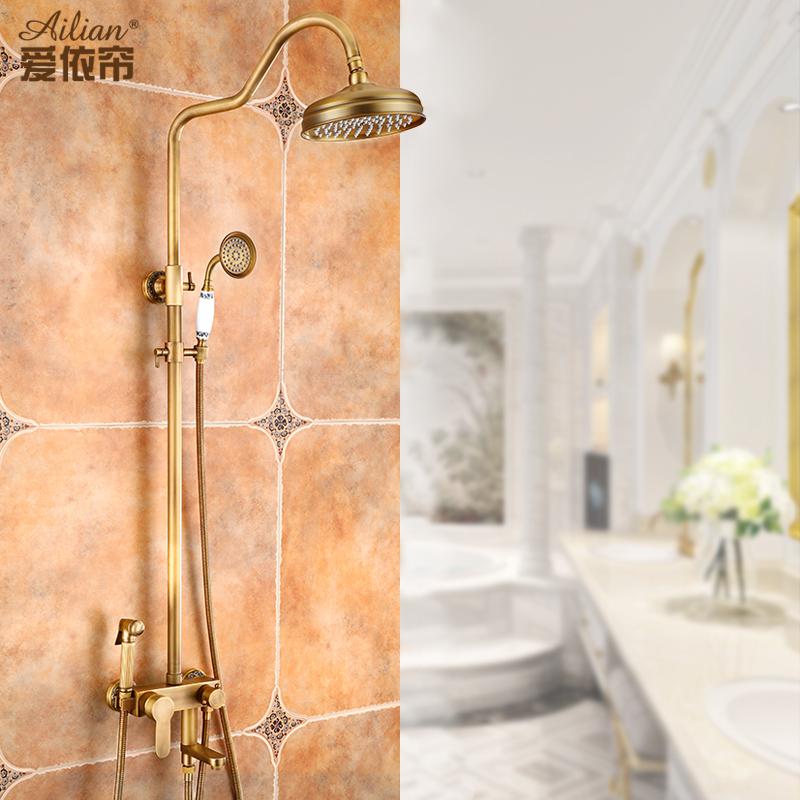 仿古花洒套装全铜淋浴花洒套装欧式浴室恒温淋雨沐浴花洒冷热龙头