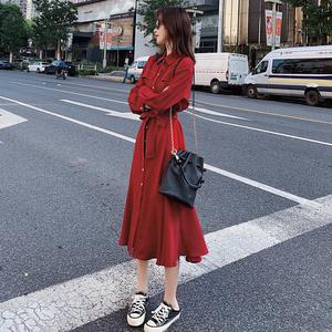 法式复古红色长袖连衣裙女秋季2019新款小个子宽松收腰衬衫裙长裙