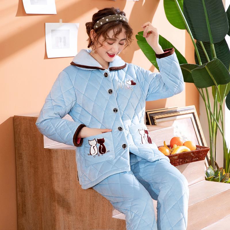 睡衣女冬季珊瑚绒加厚保暖三层夹棉袄法兰绒秋冬家居服套装可外穿