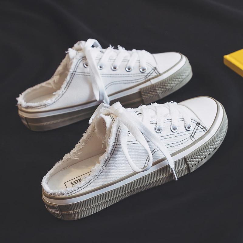 小白鞋女学生20 无后跟半拖一脚蹬懒人韩版百搭帆布鞋