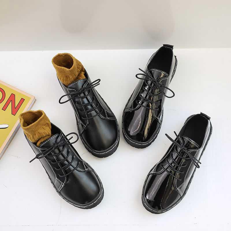 春季新款小皮鞋女学生韩版英伦风复古单鞋百搭休闲厚底女鞋子 2019