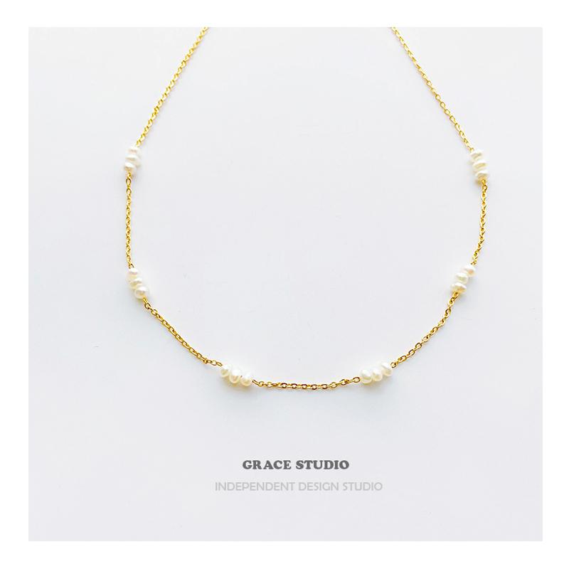 GRACE有间工作室 法式天然米粒珍珠锁骨链女仙气温柔百搭叠戴项链