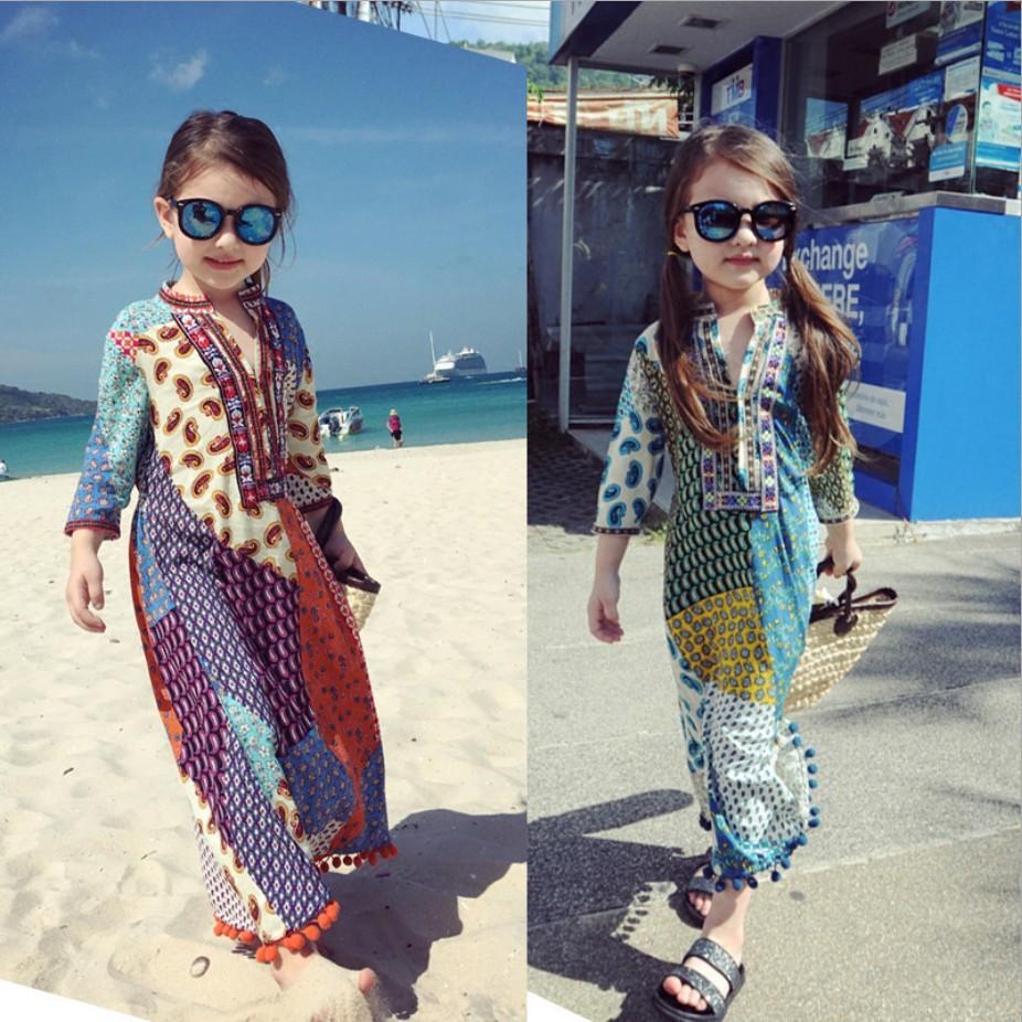 亲子夏装母女童连衣裙沙滩民族风绵绸七分袖儿童波西米亚裙长裙子