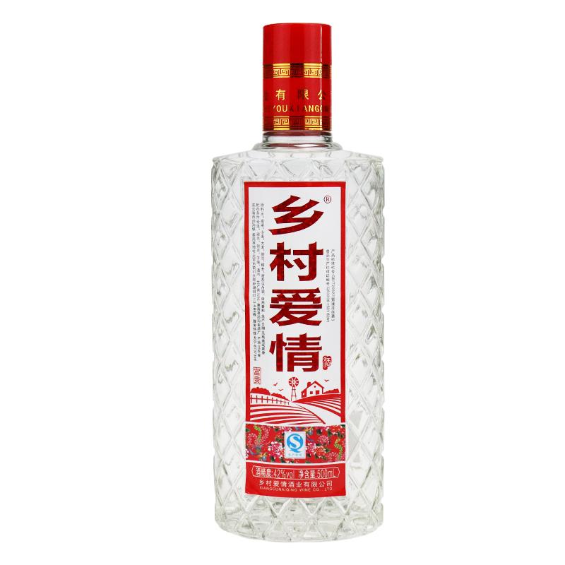 500mlx6 瓶濃香型白酒酒水高粱 鄉村愛情白酒整箱特價純糧食酒 度 42