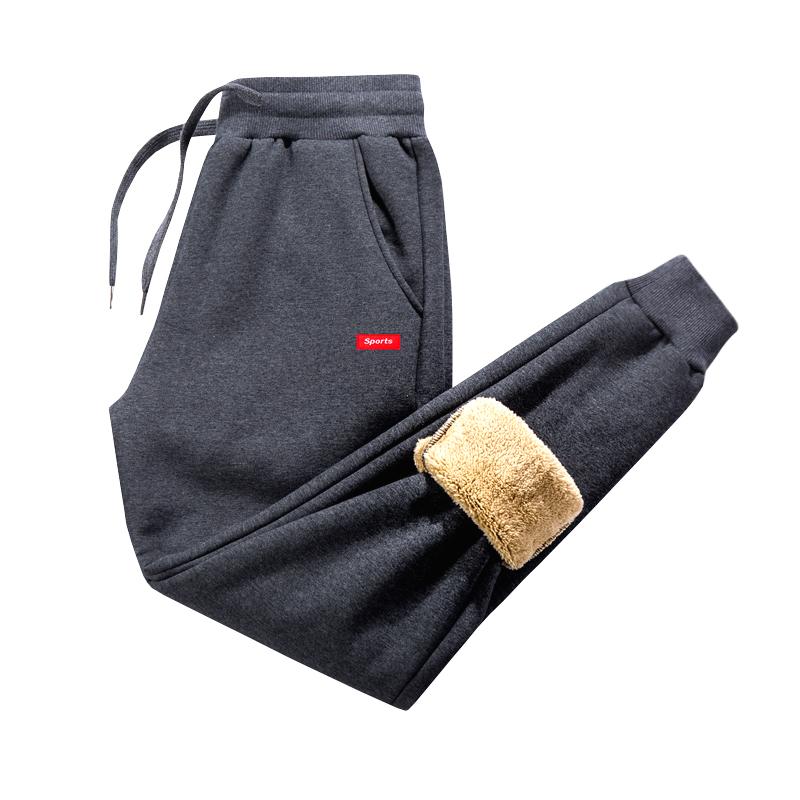 加绒运动裤男宽松冬季加厚保暖羊羔绒外穿休闲长裤子男秋冬款卫裤