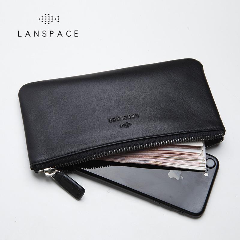 lanspace男士真皮长款拉链钱包牛皮手拿包手机包新简洁女手包超薄