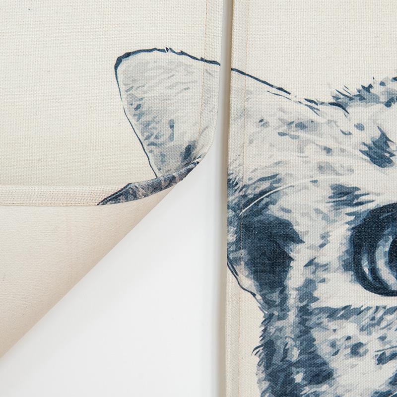 黑白猫简约布艺门帘厨房半帘玄关风水帘卫生间隔断帘卧室装饰挂帘