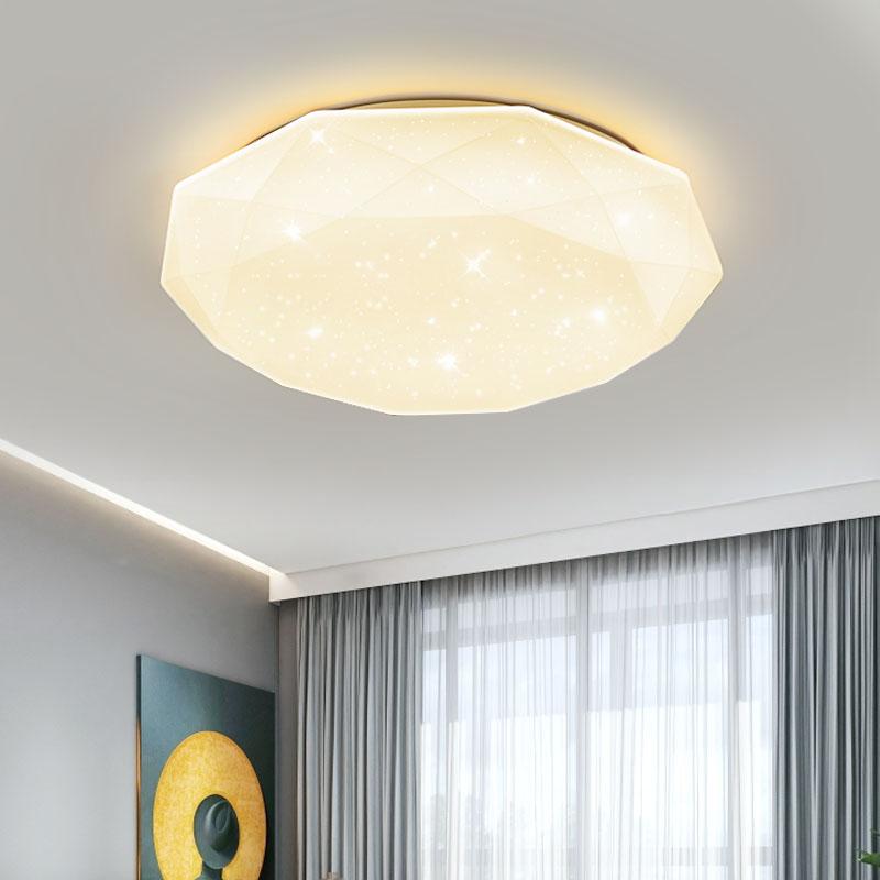 LED吸頂燈現代簡約客廳燈卧室燈餐廳書房過道衛生間溫馨浪漫家用創意個性鑽石燈飾天貓精靈智能遙控三色燈具