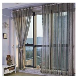 雪尼尔窗帘成品定制卧室客厅高档大气阳台隔断现代简约条纹窗纱帘