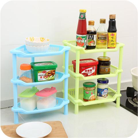 小迷你厨房卫生间三角置物架塑料浴室洗漱台桌面多层化妆品收纳架