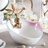 Ceramic with copper light luxury fruit plate creative Chinese fruit plate secret customs key collection plate living room ornament hanging monkey
