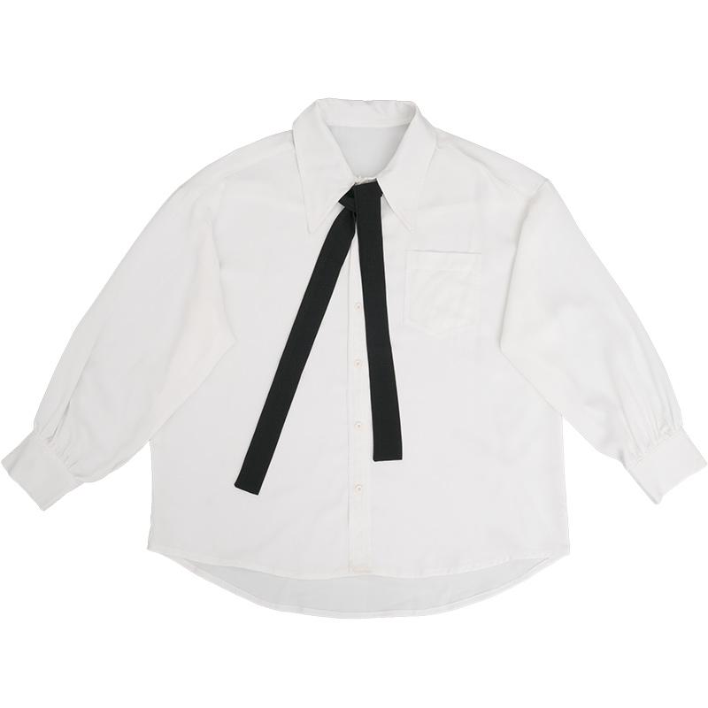 酱果自制BF风雪纺尖领日系女子高中生灯笼袖宽松长袖JK衬衫制服女