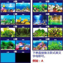 高清镜面海蓝色贴图浴缸壁纸鱼缸背景画后面大号海洋山水3d玻璃窗