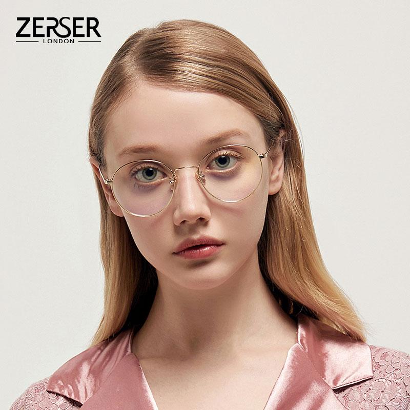 纯钛平光眼镜防蓝光记忆钛眼镜框男超轻近视眼镜女可配度数 ZERSER