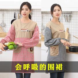 围裙罩衣女纯棉时尚可爱日系韩版家用棉布防污防油厨房做饭长袖