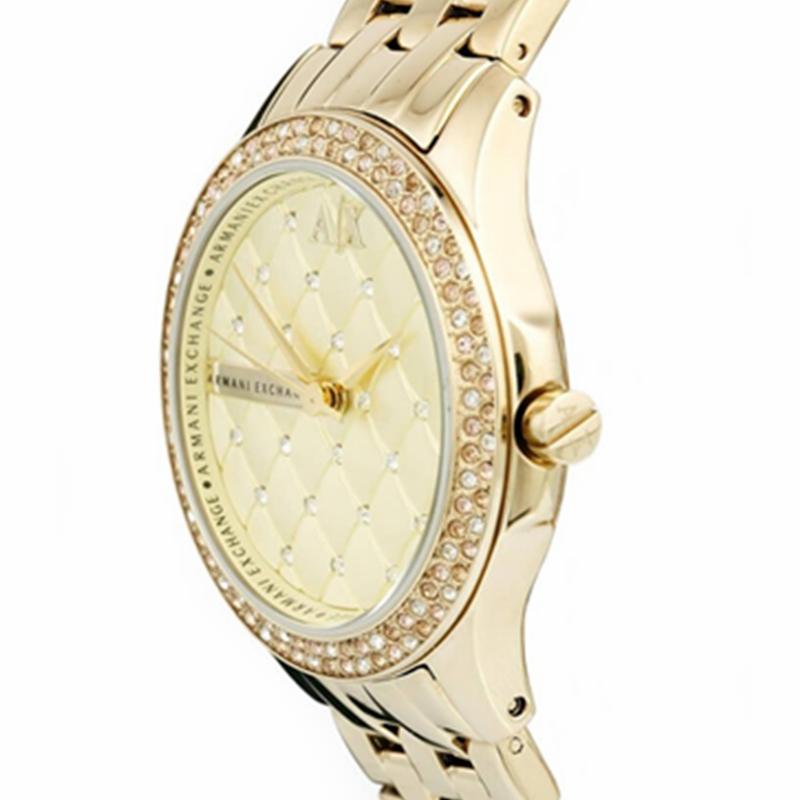阿玛尼手表女ARMANIEXCHANGE金色时尚休闲石英腕表防水AX5216