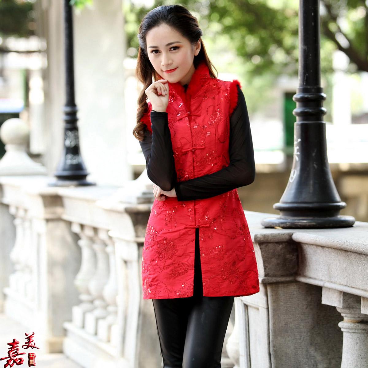 吉祥红色中式绣花棉旗袍上衣冬装新款女士唐装棉马夹马甲背心礼服