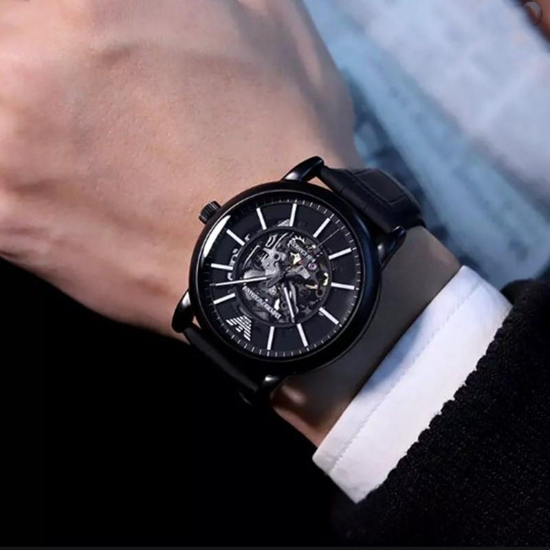 Armani阿玛尼手表男 黑武士机械表时尚镂空机械防水表AR60008