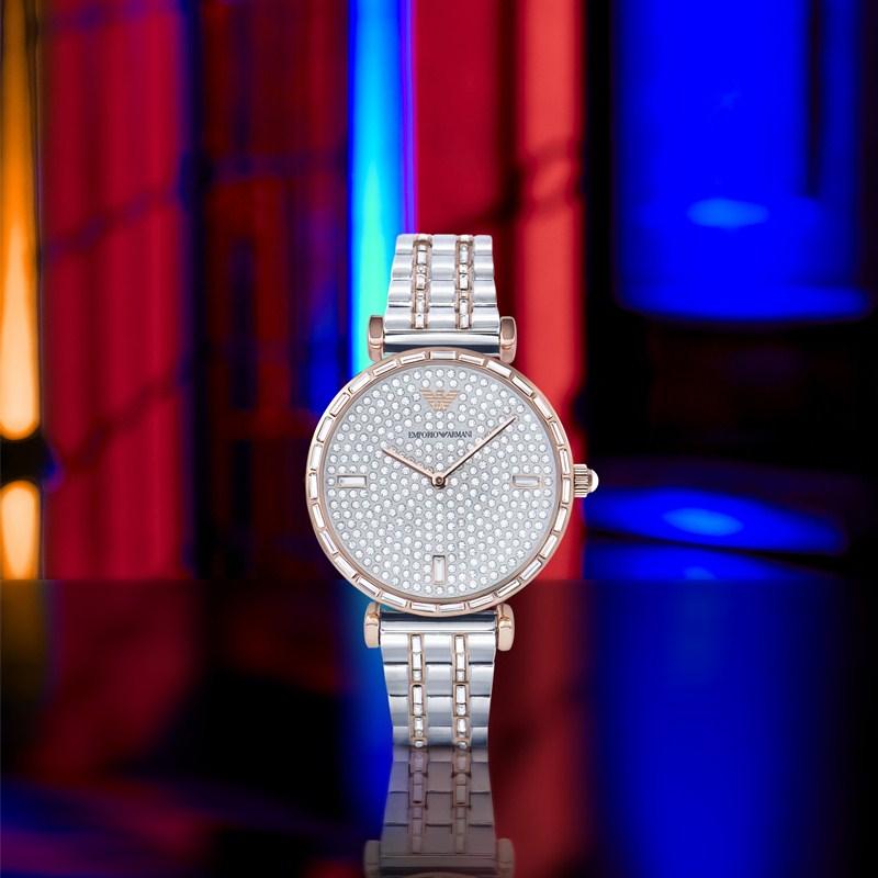 佟丽娅同款阿玛尼手表女 新款时尚满天星镶钻钢带石英女表AR11293