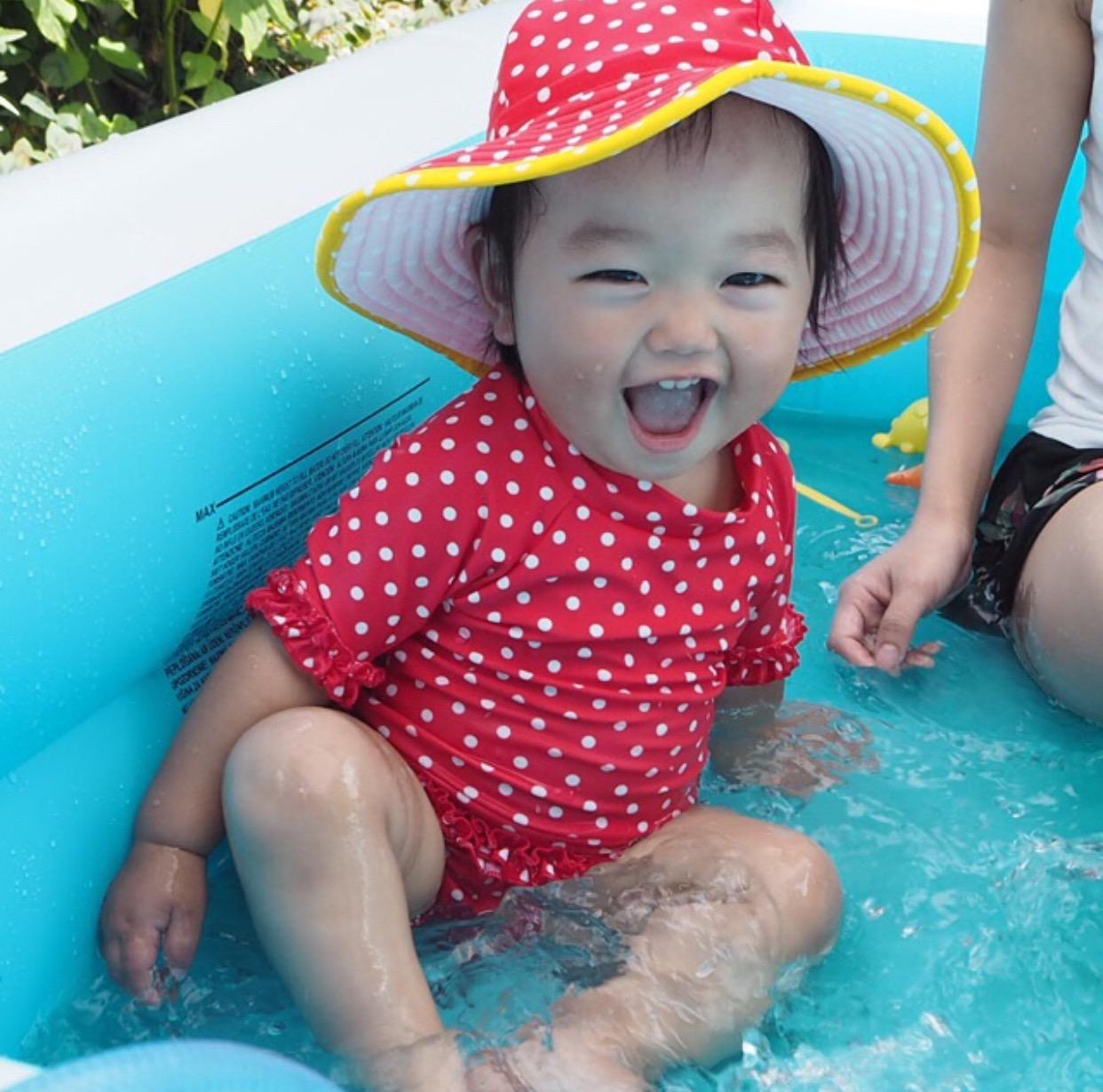 Rufflebutts婴儿女童长袖点点游泳衣儿童女孩短袖分体泳衣泳装