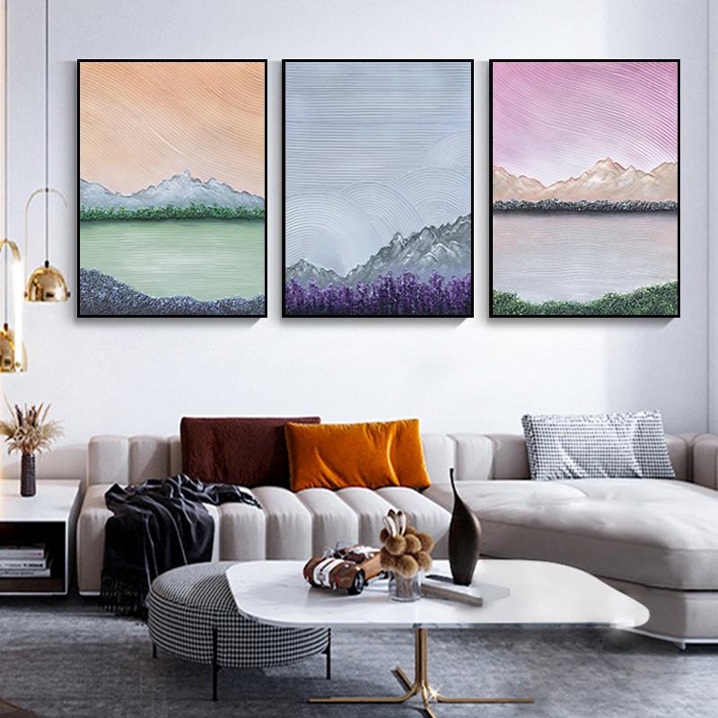 程典成x 原創油畫新中式客廳手繪裝飾畫山水意境畫厚油肌理立體畫