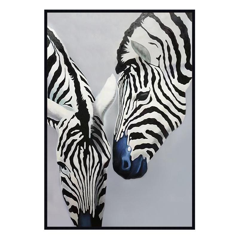 發財樹 現代客廳黑白油畫純手工動物掛畫玄關餐廳手繪畫定制-斑馬