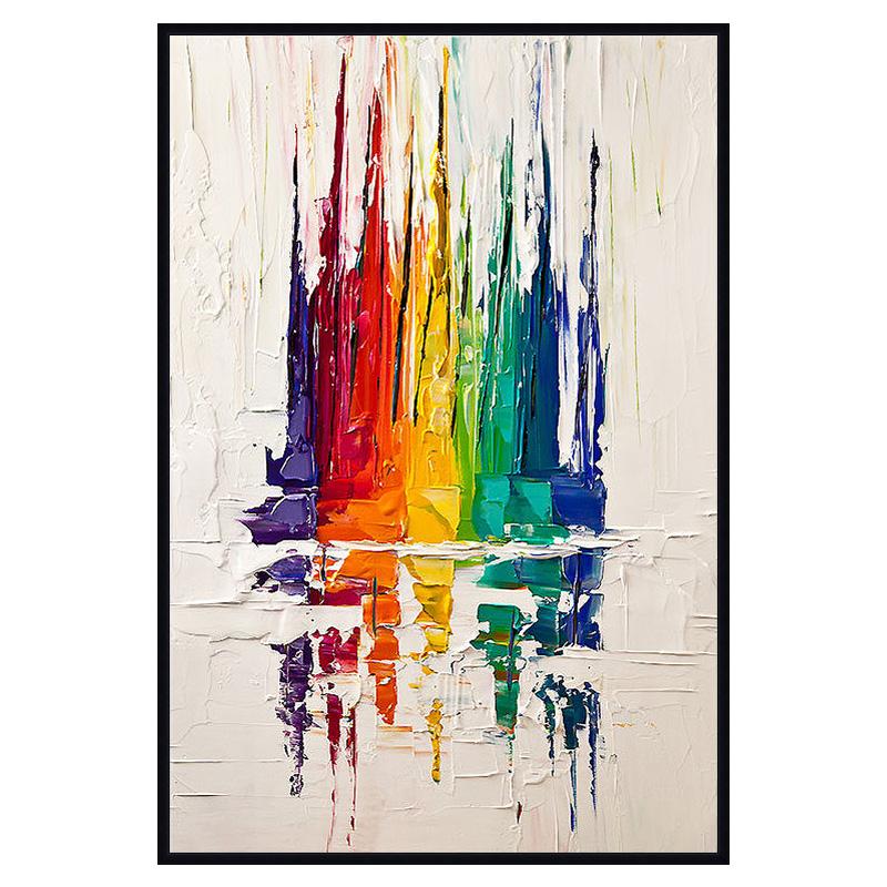 發財樹 客廳手繪裝飾畫大幅刀畫抽象風景油畫純手工豎畫 一帆風順