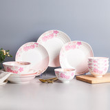 HelloKitty Japanese Cherry Blossom Dishes Set Home Creative Eating Bowl Plate Ceramic Tableware Set