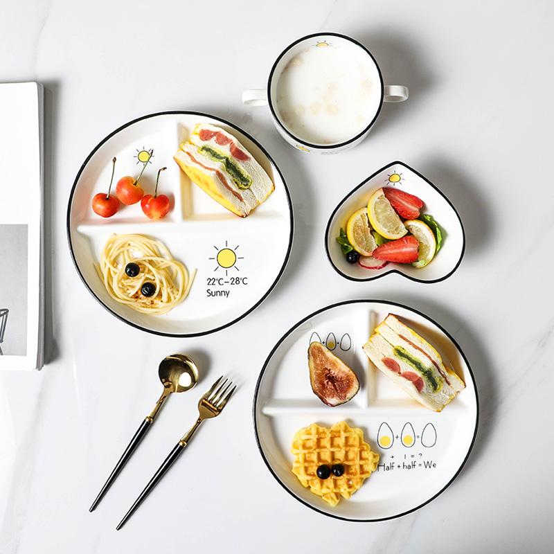 泰留恋儿童分食餐盘早餐碗陶瓷格盘子北欧家用一人食餐具套装756