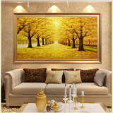 Golden avenue living room decoration painting modern minimalist porch hanging painting restaurant mural pure hand-painted landscape oil painting wall painting