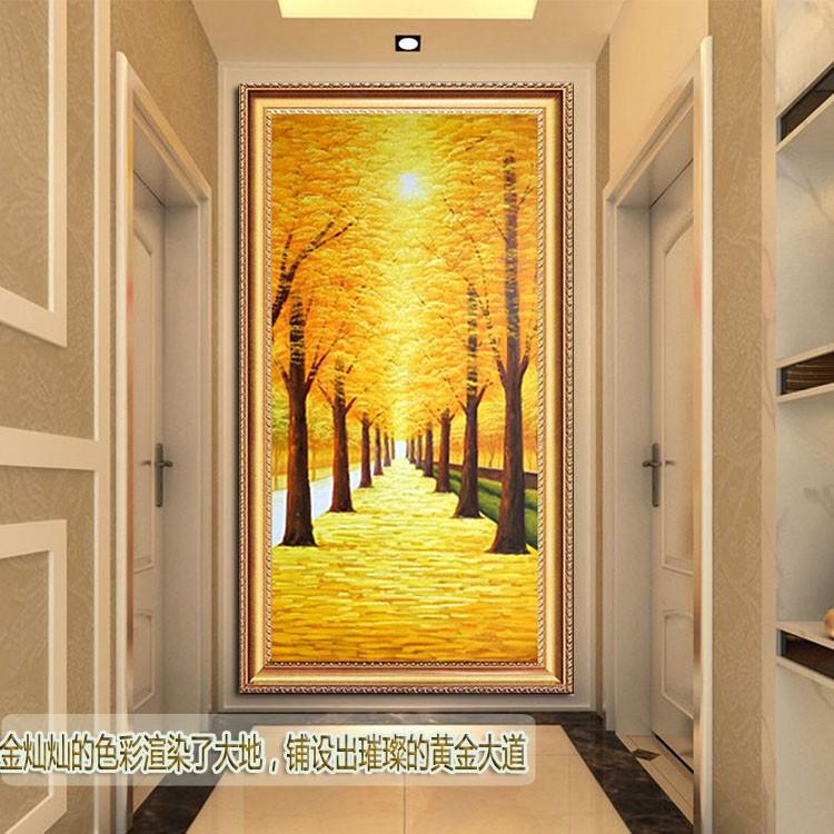 黃金大道立體手繪油畫家居玄關走廊掛畫現代簡約客廳裝飾畫風景畫