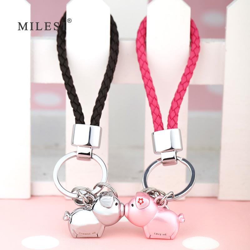 鼠年小礼物创意小猪钥匙扣定制情侣女钥匙链情侣款一对车钥匙挂件