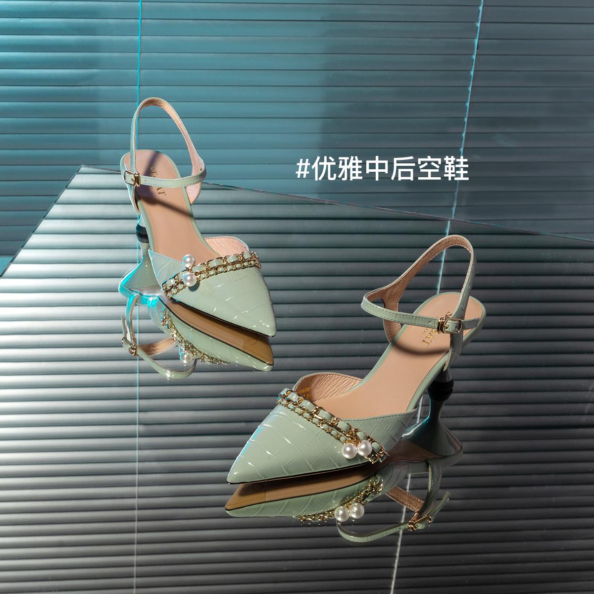 SS11114748 春夏新款时尚尖头优雅细高跟女鞋子 2021 星期六时装凉鞋